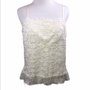 Harold's Ivory White Stretch Lace Lined Camisole